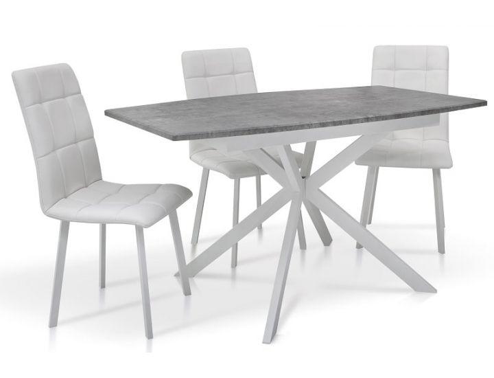 Раскладной стол Ричард ножки белые, столешница светло-серая Микс Мебель