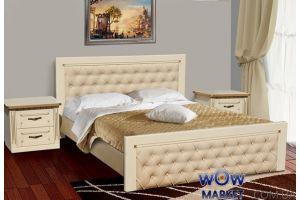 Кровать двуспальная Фридом 160(180)х200см слоновая кость с патиной Микс Мебель