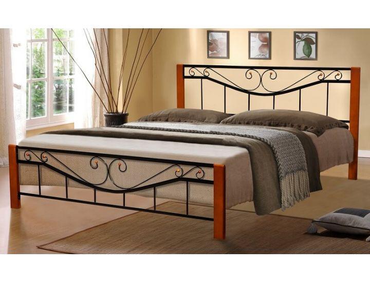Кровать металлическая Милениум Вуд 90*200 см, черный Микс Мебель Iron Line