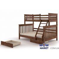 Кровать двухъярусная Скандинавия (Сосна) 140х200см орех темный Микс Мебель Уют