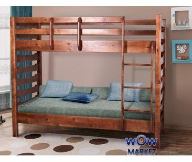 Кровать двухъярусная Троя (Сосна) 80х200см орех темный Микс Мебель Уют