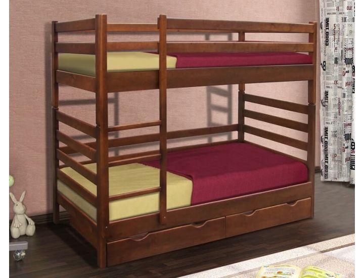 Кровать двухъярусная Засоня (Сосна) 80х190см орех темный Микс Мебель Уют