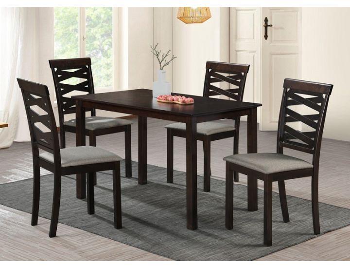 Кухонный комплект Бруклин, стол и 4 стула, темный орех