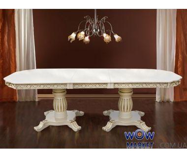 Стол раскладной Монарх 2000 (+500)*1000мм, слоновая кость, патина Микс Мебель Барон