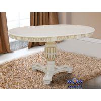 Стол круглый раскладной Версаль 1000(+400)*1000мм, слоновая кость, патина Микс Мебель Барон