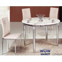 Стол обеденный раскладной круглый Сандра М бело-розовый Микс Мебель