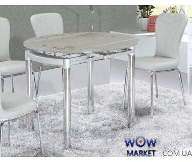 Стол обеденный раскладной круглый Сандра М серо-голубой Микс Мебель