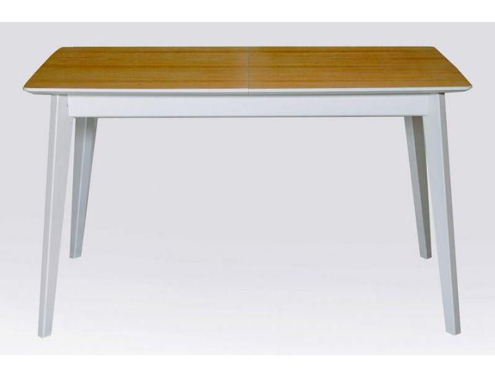 Стол обеденный раскладной Сингл ясень натуральный, ножки белые Микс-Мебель Лофт