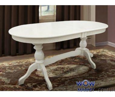 Стол раскладной Оскар Люкс 1600(+400+400)*900мм, слоновая кость, белый Микс Мебель Престиж