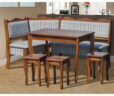 Комплект уголок Шотландия 155*110 см бук 7 и Г стол и 3 табурета Микс Мебель