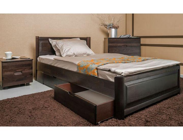 Кровать деревянная Олимп Марго филенка с ящиками