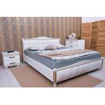 Кровать Олимп Прованс патина и фрезеровка мягкая спинка квадраты