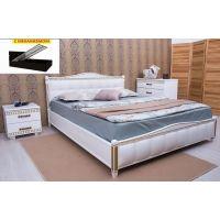 Кровать Олимп Прованс патина и фрезеровка мягкая спинка квадраты с механизмом