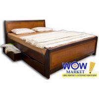 Кровать двуспальная 160х200(190)см Олимп Сити с интарсией и ящиками