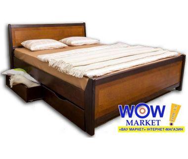 Кровать полуторная 120х200(190)см Олимп Сити с интарсией и ящиками