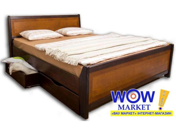 Кровать деревянная двуспальная Олимп Сити с интарсией и ящиками 180х200(190)см