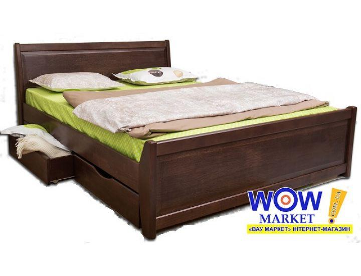 Кровать деревянная двуспальная Олимп Сити с филенкой и ящиками 200х200 см