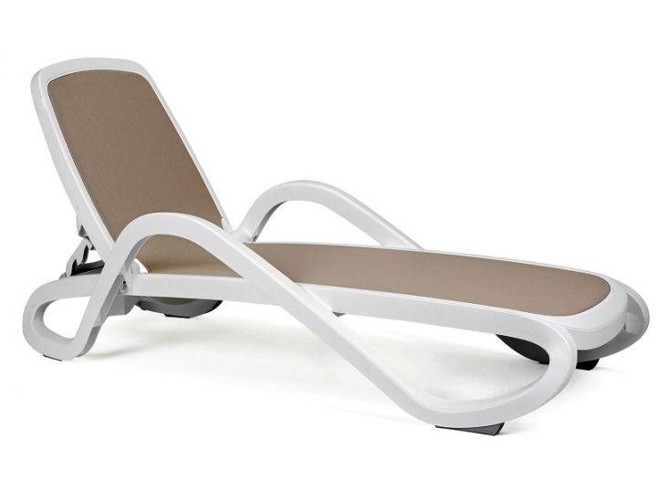 Лежак шезлонг пляжный Alfa белый, текстилен бежевый