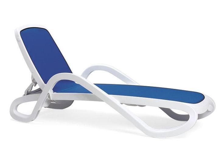 Лежак шезлонг пляжный Alfa белый, текстилен синий
