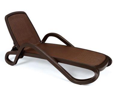 Лежак шезлонг пляжный Alfa коричневый, текстилен коричневый