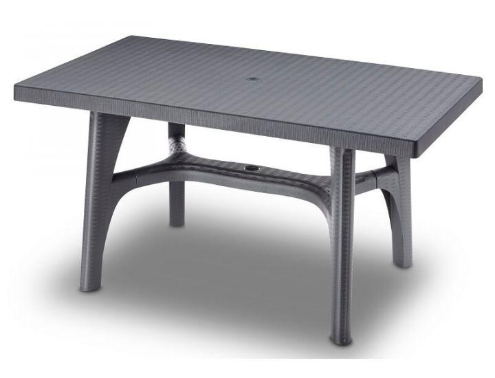 Стол пластиковый Intrecciato 140x80 см антрацит