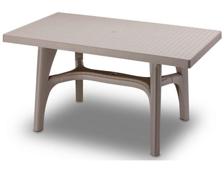 Стол пластиковый Intrecciato 140x80 см серо-бежевый