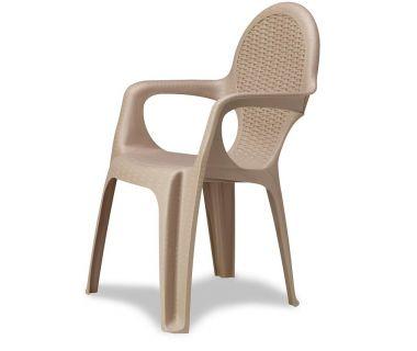 Кресло пластиковое Intrecciata серо-бежевый