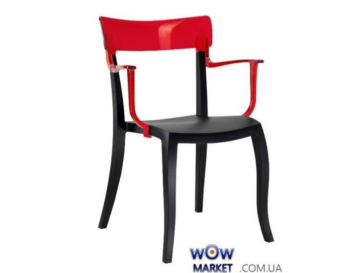 Кресло Hera-K 2445 черное сидение 09 верх прозрачно-красный 29 Papatya (Турция)