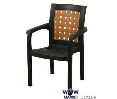 Кресло пластиковое Хризантема СТ011 зеленое с кремовой вставкой 1525