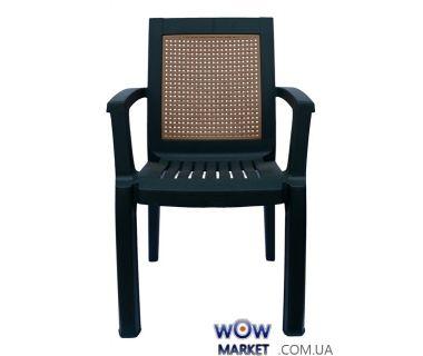 Кресло пластиковое Мимоза СТ006 зеленое с бежевой вставкой 1528