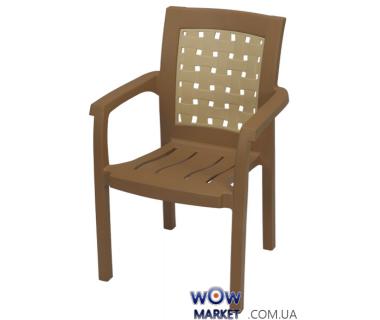 Кресло пластиковое Хризантема СТ011 бежевое с кремовой вставкой 1543