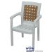 Кресло пластиковое Хризантема СТ011 белое с бежевой вставкой 1544