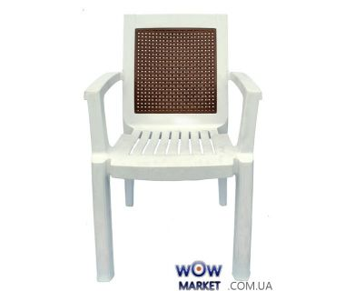 Кресло пластиковое Мимоза СТ006 белое с бежевой вставкой 1550