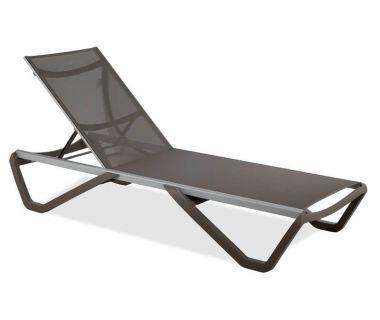 Шезлонг пляжный Wave серо-коричневый 61, сетка серо-коричневая 50070