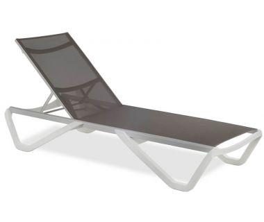 Шезлонг пляжный Wave (Вейв) белый 01 сетка серо-коричневая 50070