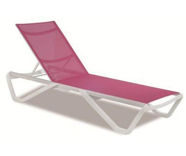 Шезлонг пляжный Wave (Вейв) белый 01 сетка темно-розовая 5336