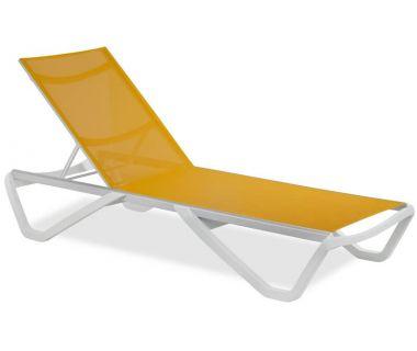Шезлонг пляжный Wave (Вейв) белый 01 сетка оранжевая 5329