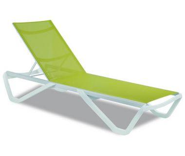 Шезлонг пляжный Wave (Вейв) белый 01 сетка светло-зеленая 5367