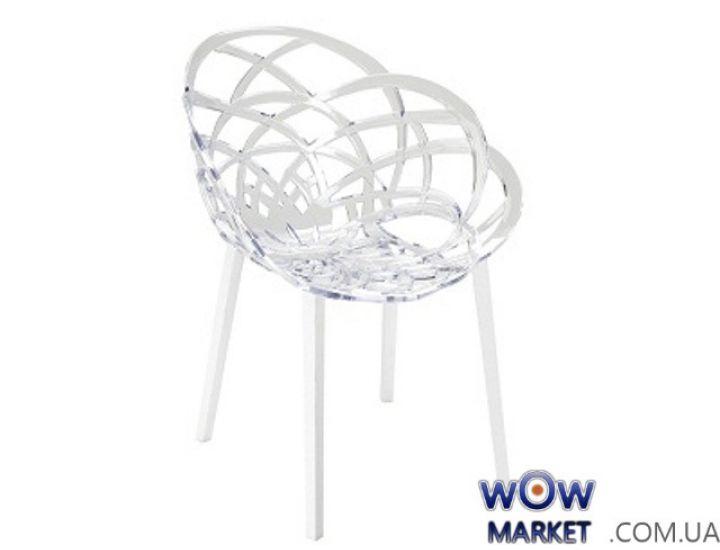 Кресло Flora Белый низ pp base 01 прозрачно-чистое сидение 37 2308 Papatya (Турция)