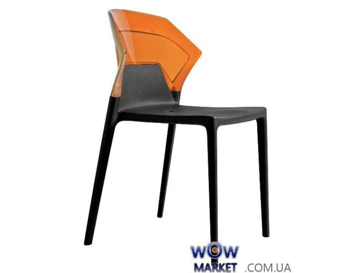 Стул Ego-S 2272 черное сидение 09 верх прозрачно-оранжевый 33 Papatya (Турция)