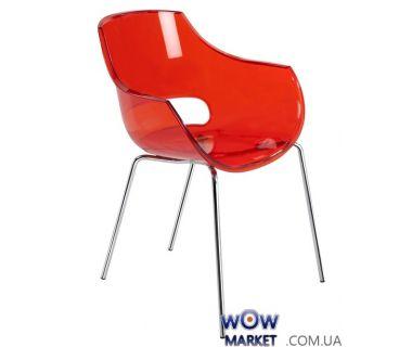 Кресло Opal 2363 ножки хром прозрачно-красное 29 Papatya (Турция)