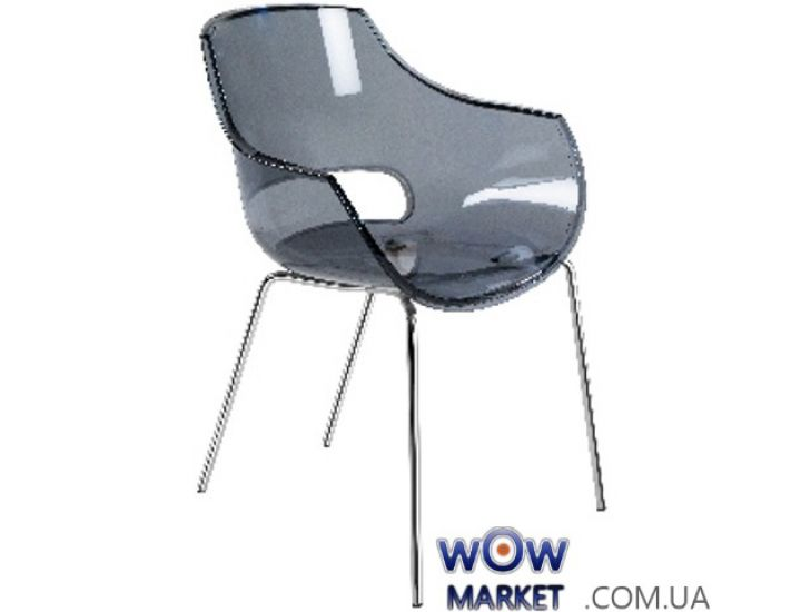 Кресло Opal 2365 ножки хром прозрачно-серое 38 Papatya (Турция)