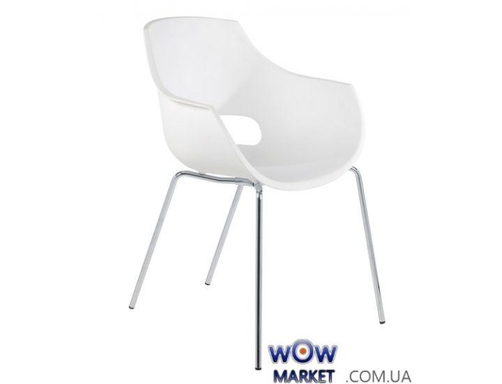 Кресло Opal 2366 матовое, ножки хром белое 01 Papatya (Турция)