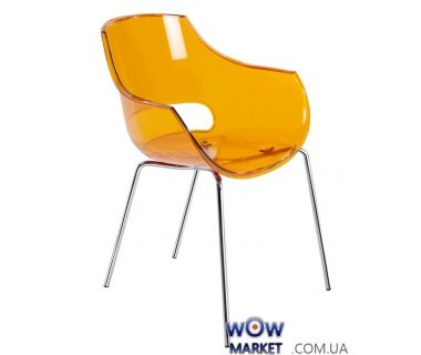 Кресло Opal, 2456 ножки хром прозрачно-оранжевое 33 Papatya (Турция)