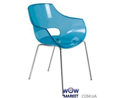 Кресло Opal 2458 ножки хром прозрачно-синий 40 Papatya (Турция)