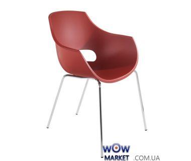 Кресло Opal 2460 матовое, ножки хром красный кирпич 51с Papatya (Турция)