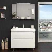 Зеркальный шкаф для ванной Everest 100 см с линзой серый, без подсветки