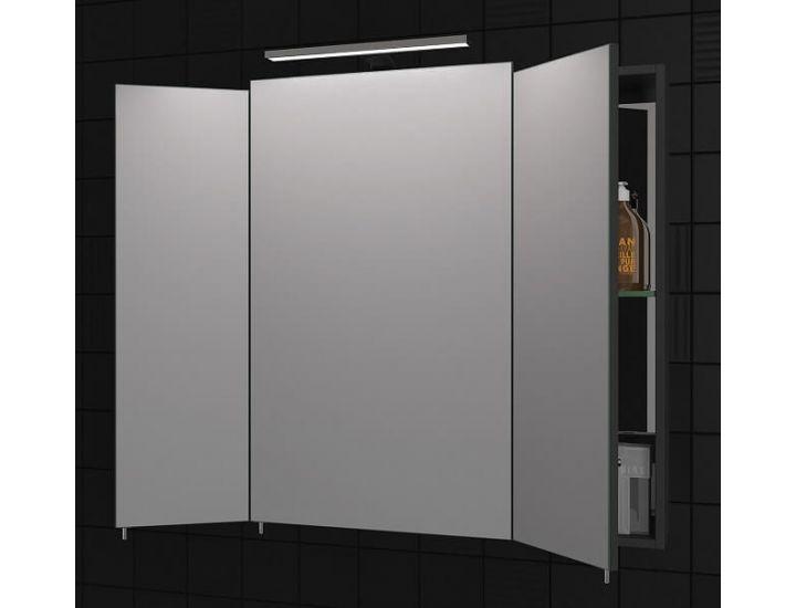 Зеркальный шкаф для ванной Everest 80 см серый, без подсветки