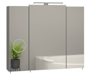 Зеркальный шкаф для ванной Everest 80 см с линзой серый, без подсветки