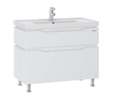 Тумба для ванной Alessa 80 белая c умывальником Канте